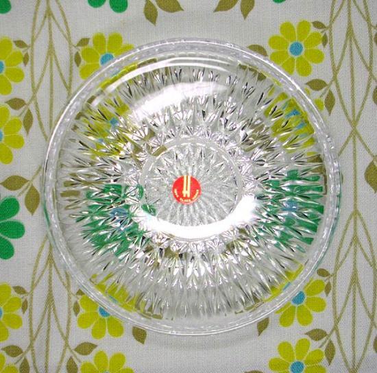 レトロプレスガラス ダイヤ模様 小皿