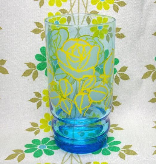 レトログラス 薔薇花柄 ブルーガラス