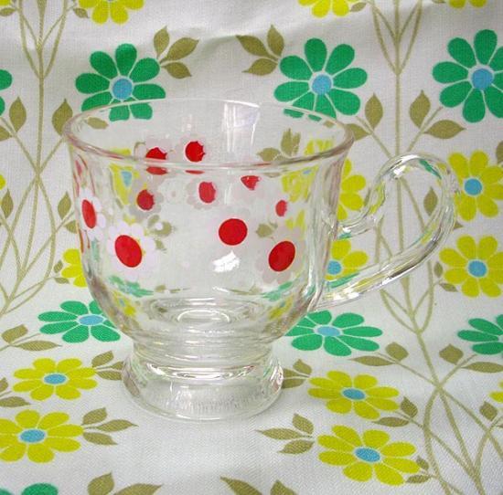 レトロポップ 花柄 ガラスカップ