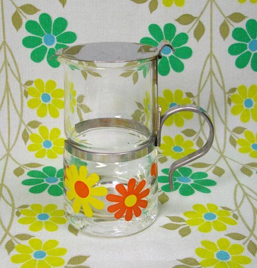 レトロポップ デイジー花柄  ガラス製 ミルクピッチャー