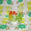 レトロ 花柄 ショートグラス オレンジグラデーション