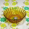 レトロプレスガラス アンバー 小鉢
