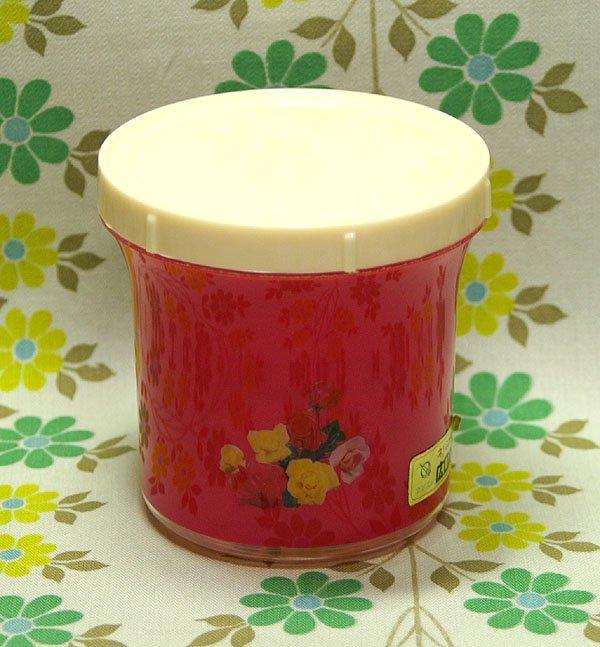 レトロプラスチック バラ花柄 フタ付き容器 ネジ蓋式 広口ポット(小) ピンク