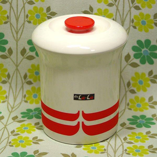 レトロプラスチック フタ付き容器 ディックララ ポット(中) ホワイト×オレンジ
