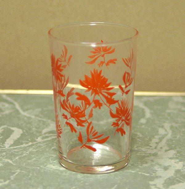 レトロ オレンジ花柄 グラス