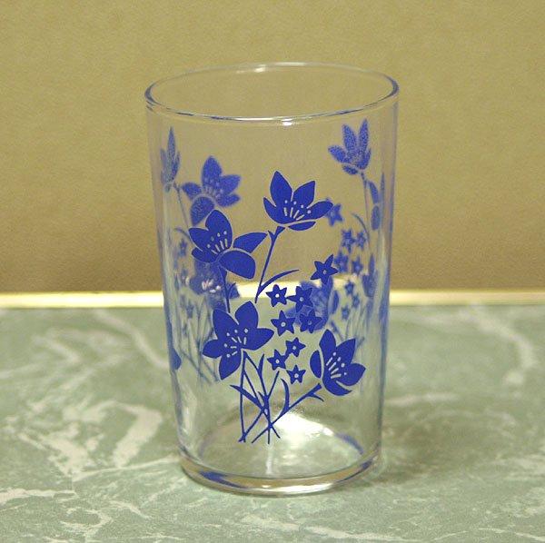 レトロ ブルー花柄 グラス