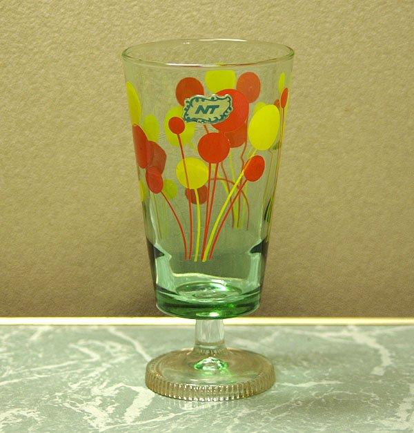 レトロポップ グリーンガラス オレンジ×イエロー風船柄 足付きグラス
