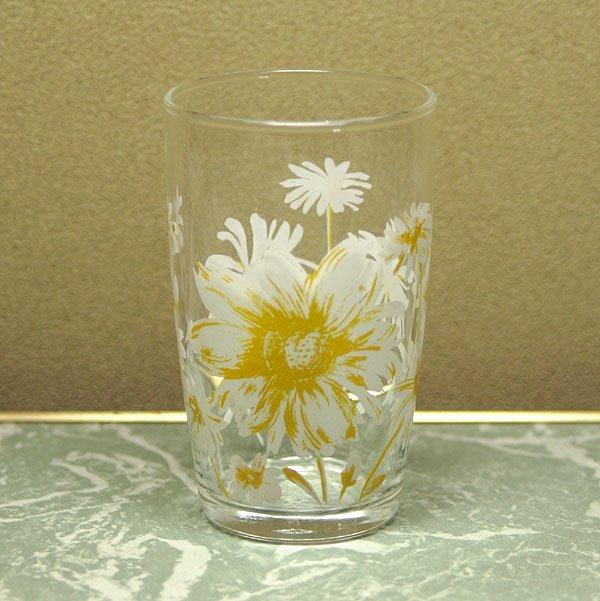 レトロ ホワイト花柄 グラス ひなぎく