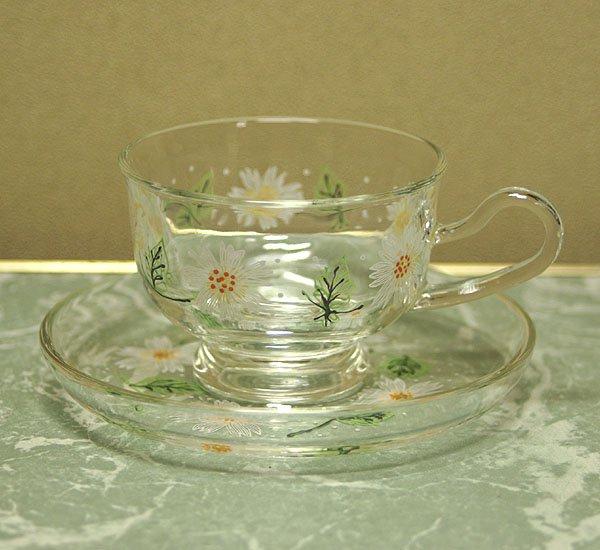 レトロ ホワイト花柄 ガラスカップ&ソーサー