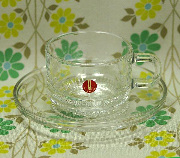 レトロ クリアプレスガラス カップ&ソーサー