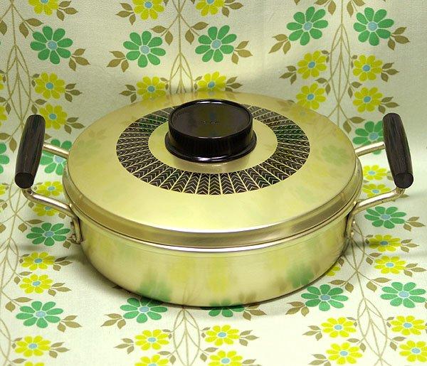 レトロ レトロ柄 アルミ製 浅型両手鍋