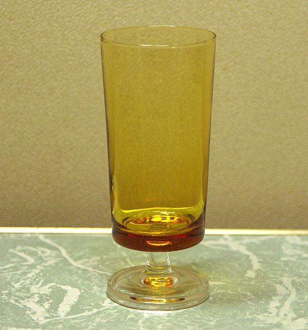 レトログラス アンバーガラス 足付き