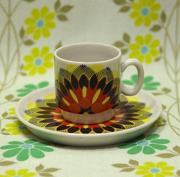 レトロポップ 花柄 デミタスカップ&ソーサー