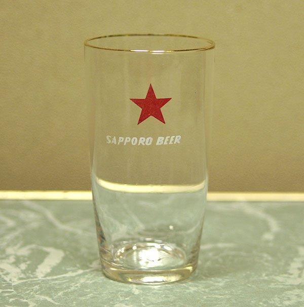 レトロ ノベルティグラス サッポロビール 金縁
