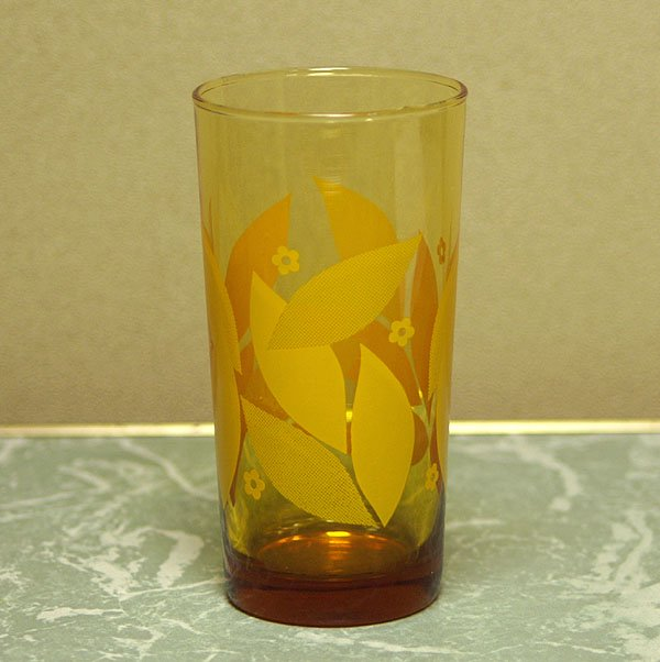 レトロポップ アンバーガラス イエロー 花柄 グラス