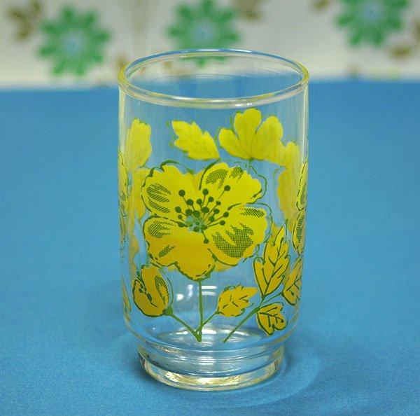 レトロポップ イエロー花柄 グラス ジョイ