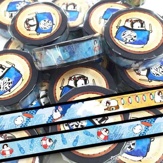 【もこぺんグッズ】かわいいペンギン雑貨◆マスキングテープ◆夏祭り