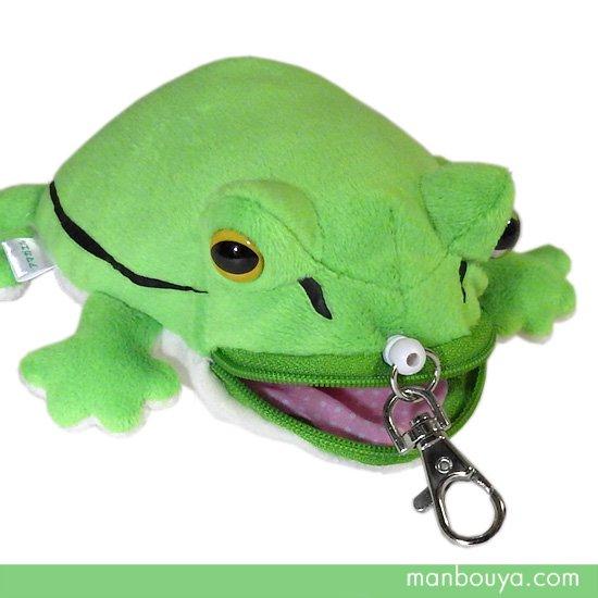 【カエルグッズ】ぬいぐるみパスケース◆リール付き◆A-SHOW◆ICカードケース◆アマガエルグリーン12cm