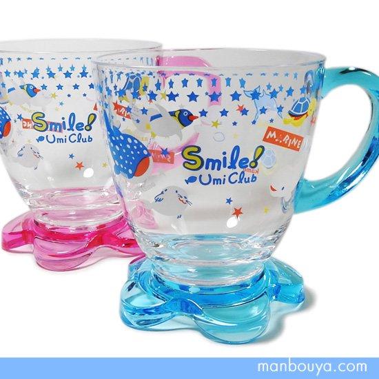 【子供用コップ】プラスチック◆かわいい水族館グッズ◆AQUA◆フラワープラマグカップ◆ピンク・ブルー