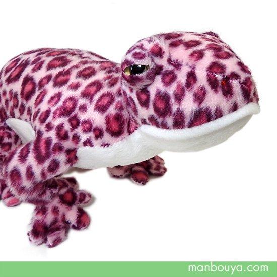 トカゲ ぬいぐるみ レオパードゲッコー 爬虫類 ヤモリ A-SHOW ヒョウモントカゲモドキ ピンク 32cm