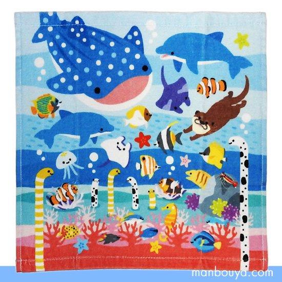 【水族館グッズ】ハンドタオル◆海の生き物キャラクター◆ヤエックス◆ジンベイザメ&イルカ&熱帯魚
