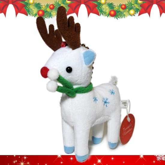 トナカイのぬいぐるみ 動物 クリスマス グッズ・雑貨 A-SHOW トゥインクルレインディアバッグチャーム スノー 12cm