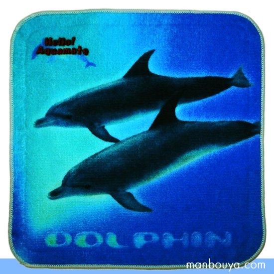 イルカ グッズ タオルハンカチ 水族館お土産 新居田物産 ハローアクアリウム ドルフィン 19×19cm
