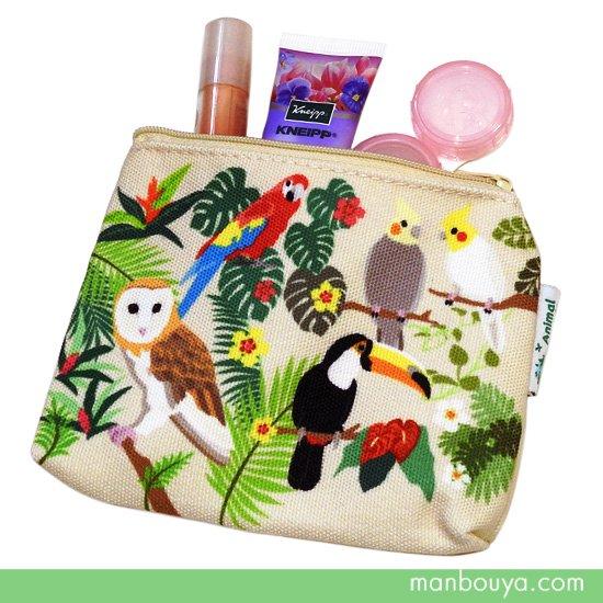 小鳥 グッズ  雑貨 布製ポーチ かなる アニマルフレンズ カラー キャンバス ミニポーチ バードランド