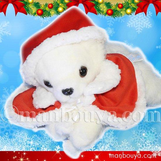 クリスマス 犬のぬいぐるみ チワワ グッズ A-SHOW 栄商 ロングコートチワワ伏せ くたくた ホワイト 25cm サンタ衣装