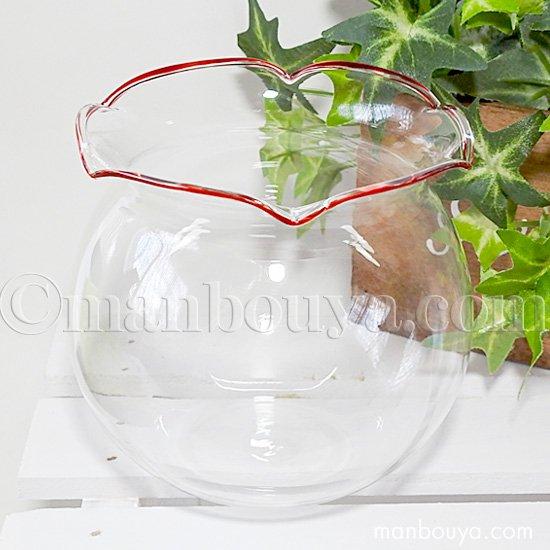 金魚鉢 ガラス おしゃれ インテリア雑貨 かわいい 小型 直径95mm レッド