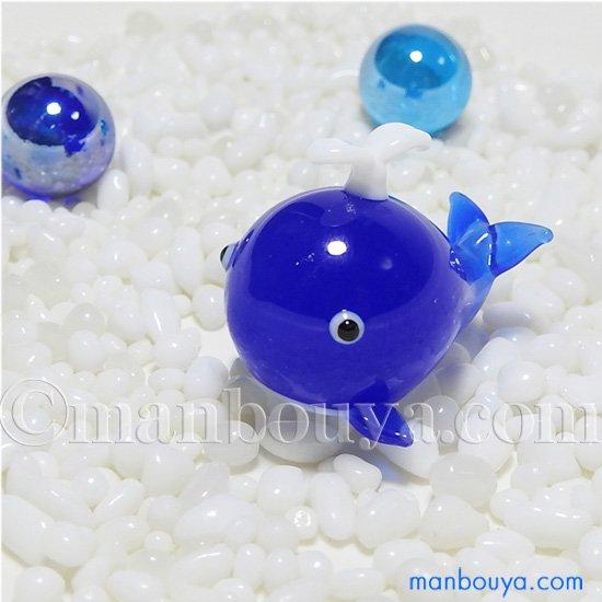 クジラ ガラス細工 ミニチュア 動物 雑貨 水族館 お土産 グラススクエア プチシリーズ くじらB ブルー