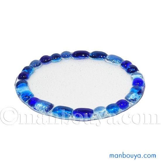 ガラストレイ ミニチュア ガラス細工 ディスプレイ用 フォーカート モザイクトレー 楕円 ブルー