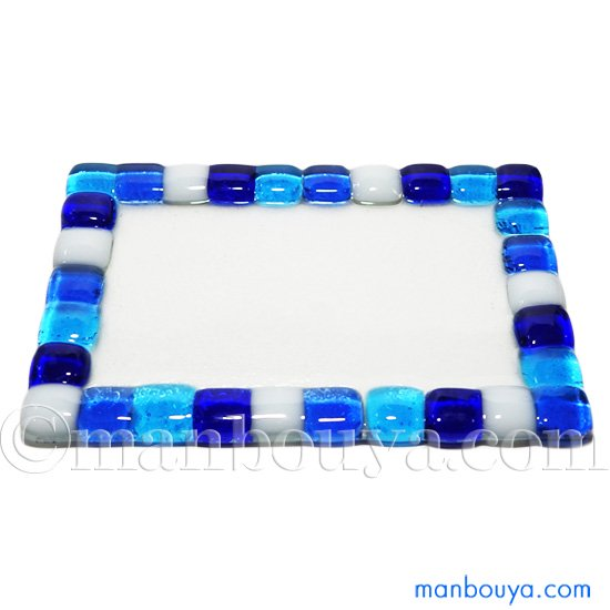ガラストレイ ミニチュア ガラス細工 ディスプレイ用 フォーカート モザイクトレー 長方形 ブルー