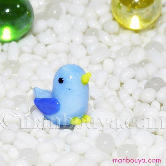 小鳥 雑貨 ガラス細工 ミニチュア グラススクエア  ことり ライトブルー