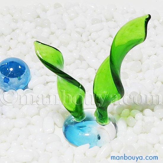 ガラス細工 ミニチュア 雑貨 水草 水槽 アクアリウム グラススクエア 水草A 大