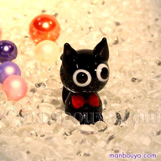 猫 ミニチュア ガラス細工 ハロウィン 飾り グラススクエア プチシリーズ リボン黒ネコ