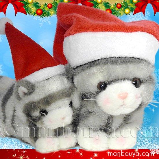 クリスマス ぬいぐるみ 猫 たけのこ TAKENOKO プチどりーむミニ &プチプチらんど ネコ グレー サンタ帽子