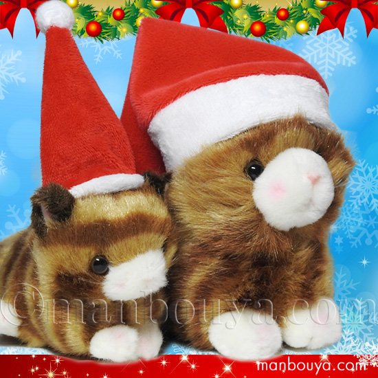 <img class='new_mark_img1' src='https://img.shop-pro.jp/img/new/icons2.gif' style='border:none;display:inline;margin:0px;padding:0px;width:auto;' />クリスマス ぬいぐるみ 猫 たけのこ TAKENOKO プチどりーむミニ &プチプチらんど ネコ 茶 サンタ帽子