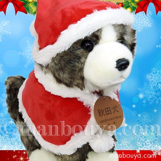 秋田犬 ぬいぐるみ クリスマス キュート販売 CUTE あきたいぬ 虎毛 L 37cm サンタ帽子