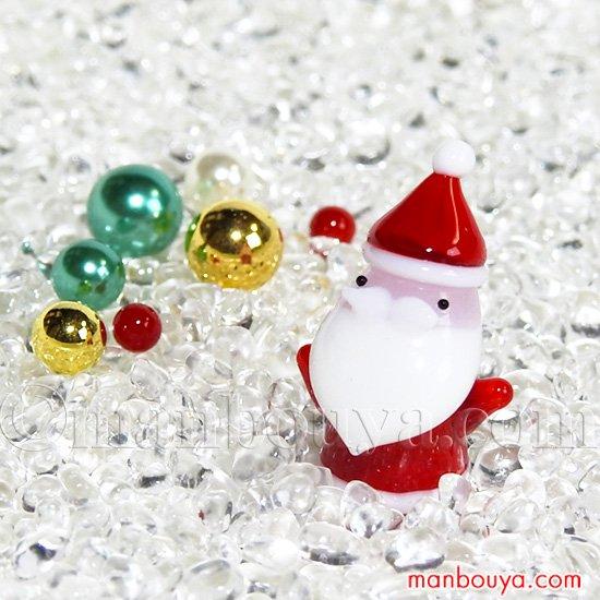 サンタクロース クリスマス ガラス細工 ミニチュア 飾り グラススクエア プチシリーズ サンタB(バンザイ)