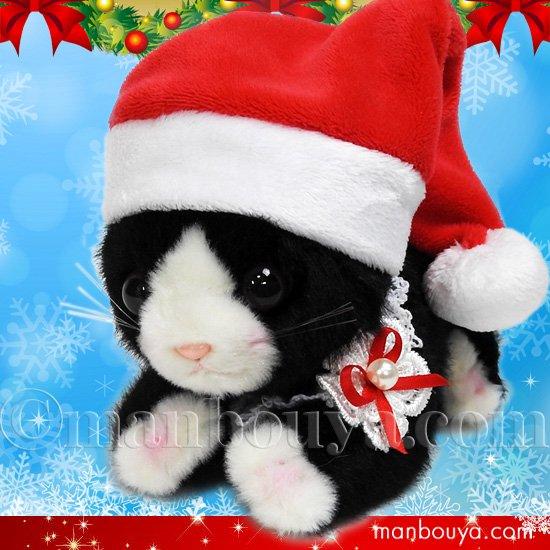 猫 ぬいぐるみ クリスマス プレゼント たけのこ TAKENOKO シャトン ノワール(黒) サンタ帽子 16cm