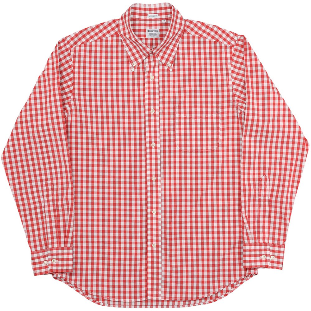WORKERS K&TH /  Modified BD, 2020, Red Gingham, Broad Cloth