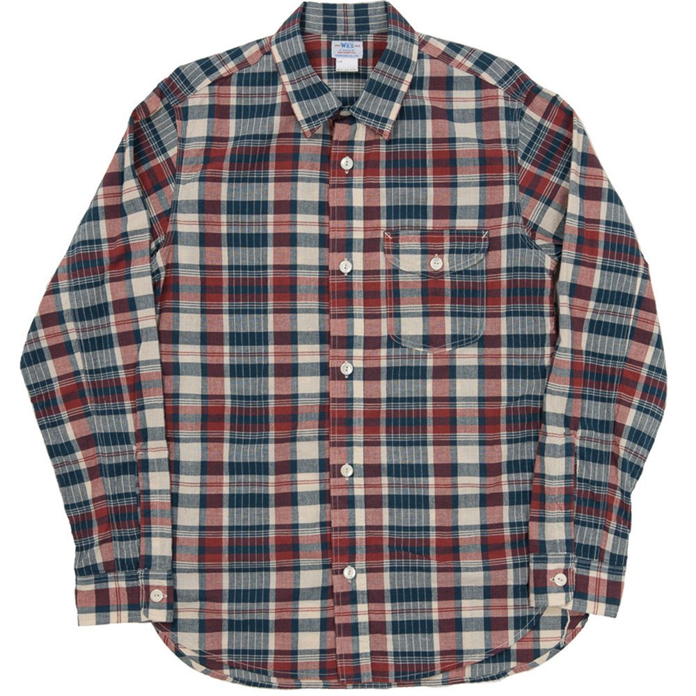 WORKERS K&TH /  Work Shirt, Red Madras