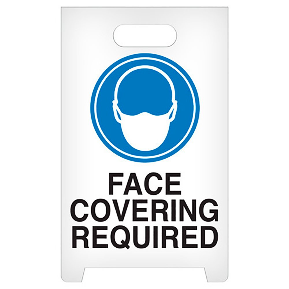 See All / Reversible Floor Signs, Face Covering Required w/ Masked Icon