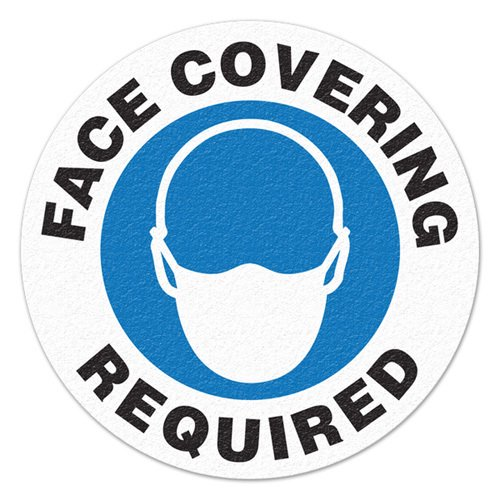 Anti-Slip Safety Floor Marker, Face Covering Required w/ Masked Icon