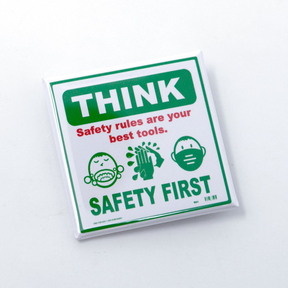 SNICK DESIGNS / Think Safety First Button Badge, Square