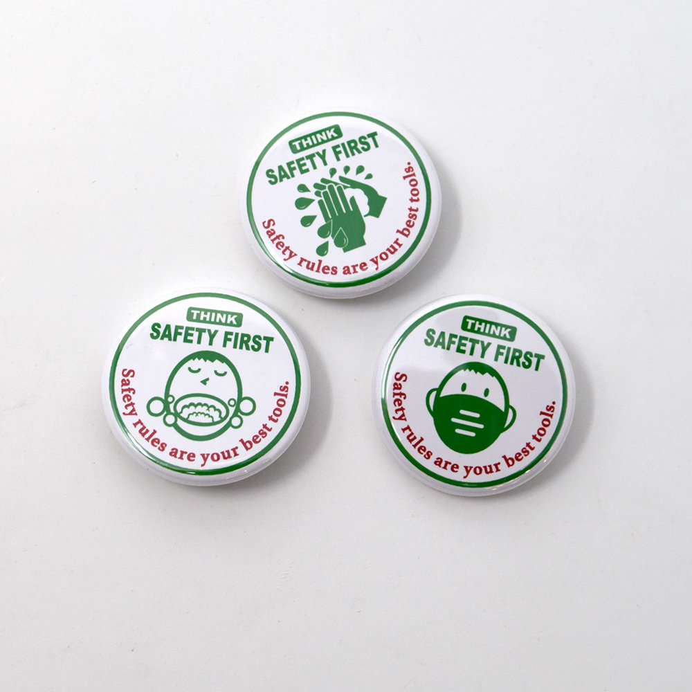 SNICK DESIGNS / Think Safety First Button Badge 3pcs,/1Set