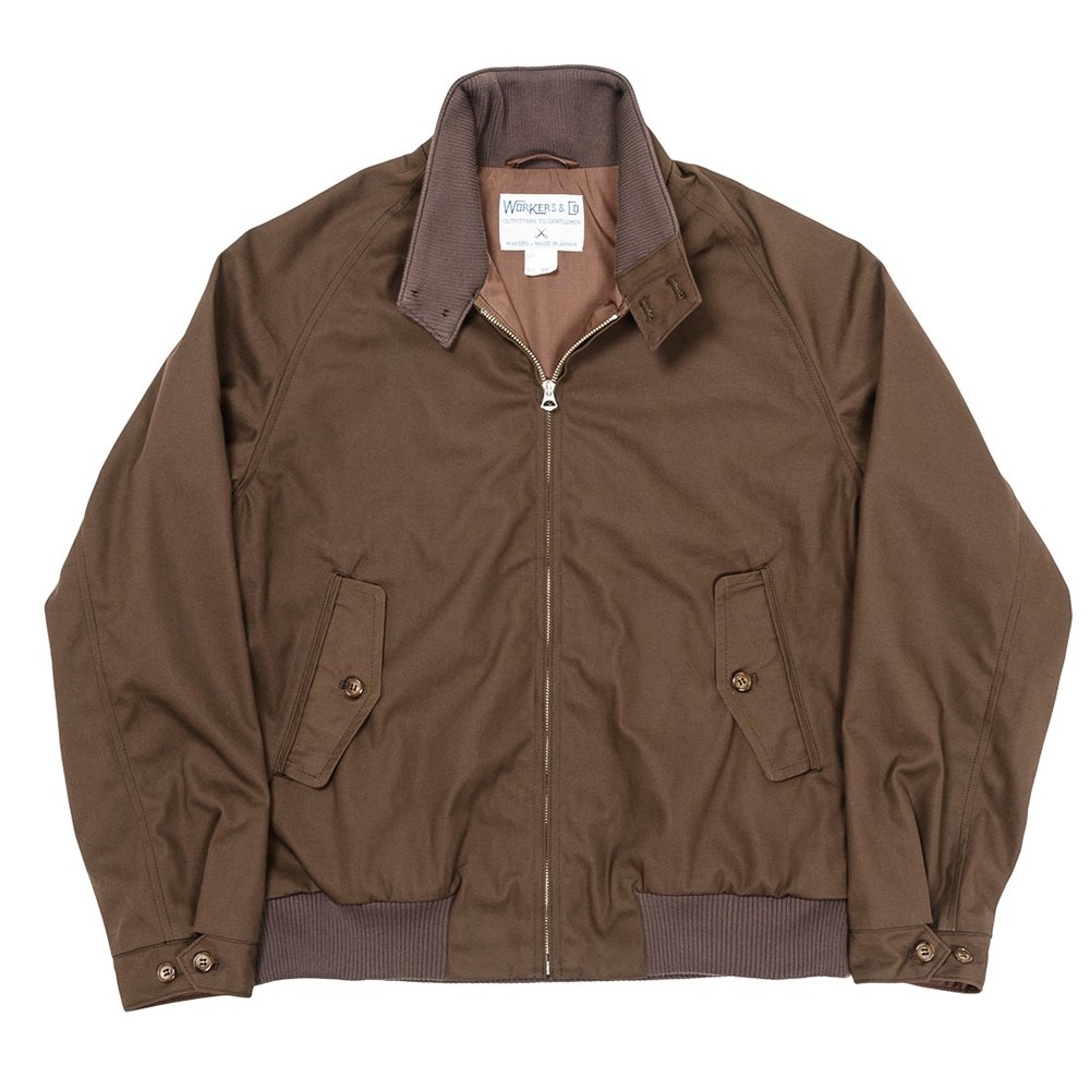 WORKERS K&TH / Harrington Jacket, Cotton Poly Gabardine Brown