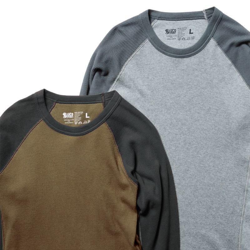 BLUCO WORK GARMENT /    [OL-013-020] 2PACK THERMAL SHIRTS - Raglan 4/5-, アッシュ・スレート、コヨーテ・チャコール
