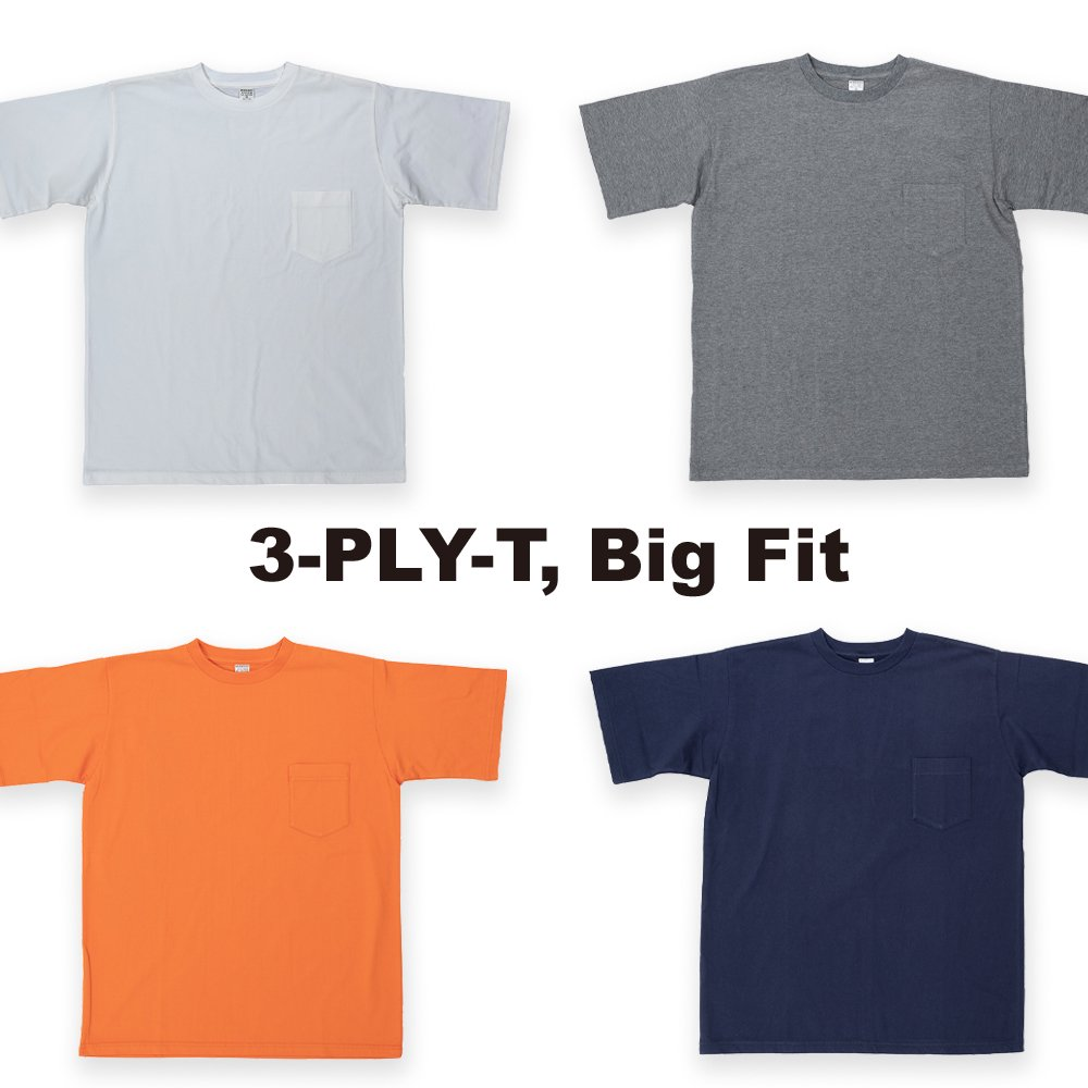 WORKERS K&TH /  3-PLY-T, Big Fit with Pocket ビッグフィットポケットティー